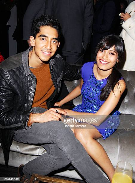 """Actors Freida Pinto and Dev Patel attend W Magazine's 'Best Performances Issue"""" and the Golden Globe Awards celebration with W Magazine Cadillac and..."""