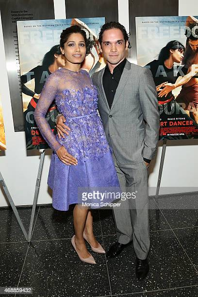 Actors Freida Pinto and Reece Ritchie attend the special screening of Relativity Studio's 'Desert Dancer' at Museum of Modern Art on April 7 2015 in...