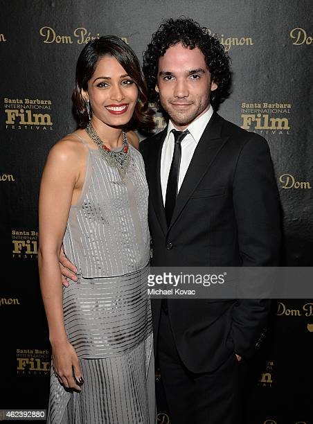Actors Freida Pinto and Reece Ritchie visit the Dom Perignon Lounge at The Santa Barbara International Film Festival to celebrate the opening night...