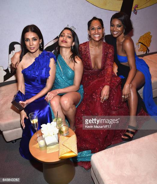 Actors Freida Pinto Tracee Ellis Ross and Gabrielle Union attend the 2017 Vanity Fair Oscar Party hosted by Graydon Carter at Wallis Annenberg Center...