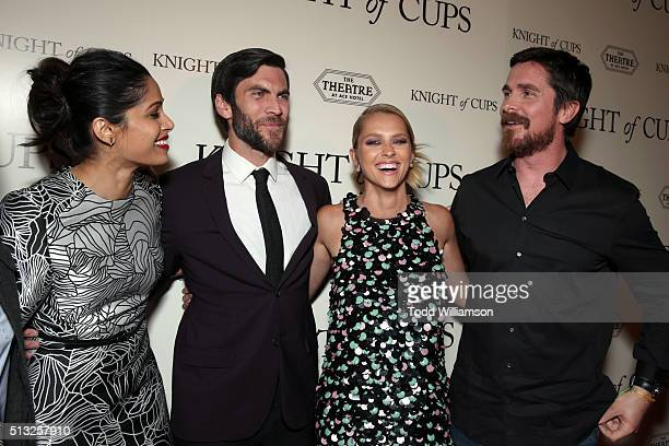 Actors Freida Pinto Wes Bentley Teresa Palmer and Christian Bale attend the premiere of Broad Green Pictures' 'Knight Of Cups' on March 1 2016 in Los...