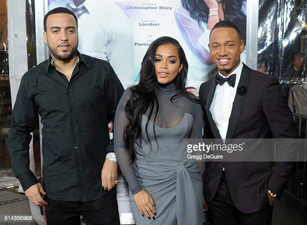 Actors French Montana Lauren London and Terrence J arrive at the premiere of Lionsgate's The Perfect Match at ArcLight Hollywood on March 7 2016 in...