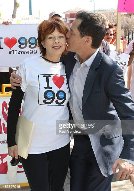 Actors French Stewart and French Stewart attend the AEA actors picket their own union over the proposal to end the 99seat theater plan In LA on March...