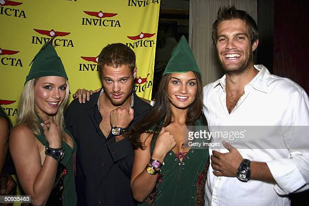 Actors from '7th Heaven' George and Geoff Stults show off the new Invicta line with models Rachelle Leah and Andrea Tiede on June 5 2004 in Las Vegas...