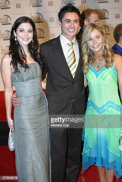 Actors from Blue Water High Katie Bell Adam Saunders and Sophie Luck arrive at the 48th Annual TV Week Logie Awards at the Crown Entertainment...