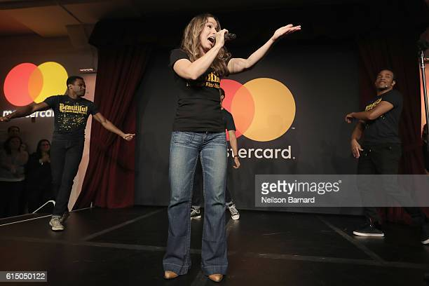 Actors from Broadway's Beautiful The Carole King Musical perform at a MasterCard exclusive event Variety presents Broadway Tastes hosted by Neil...