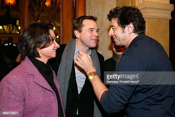 Actors from 'Le Prenom' Patrick Bruel and Guillaume de Tonquedec with his wife Christelle attend 'La Porte a Cote' Theater Play premiere Held at...
