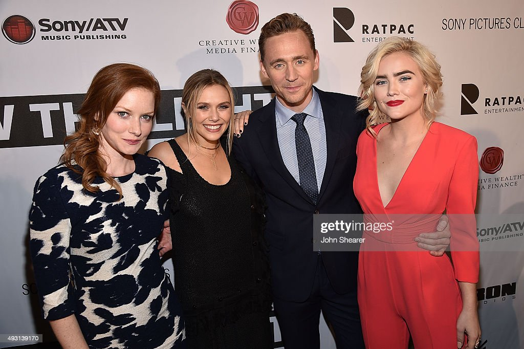 Actors, from left, Wrenn Schmidt, Elizabeth Olsen, Tom Hiddleston, and Maddie Hasson attend the premiere of 'I Saw The Light' at The Belcourt Theatre on October 17, 2015 in Nashville, Tennessee.