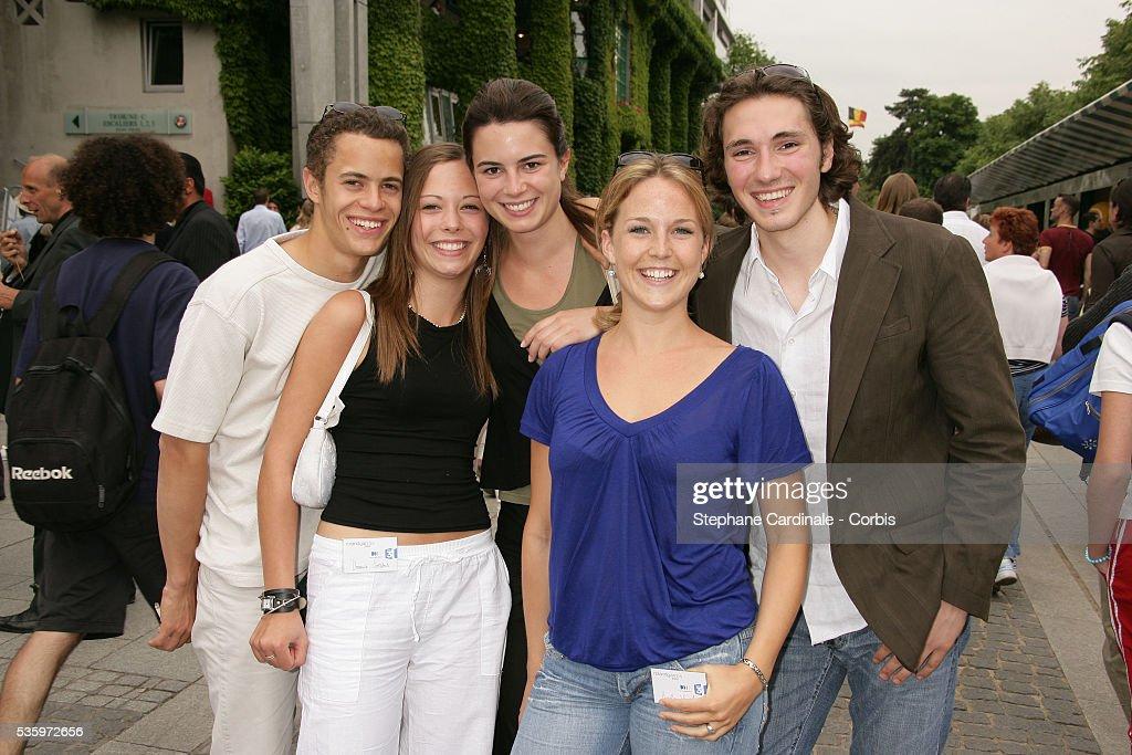 Actors from 'Plus Belle La Vie' Ambroise Michel, Dounia Coesen, Juliette China, Geoffrey Sauveaux and Aurelie Vaneck visit Roland Garros village during the 2005 French Open tennis.