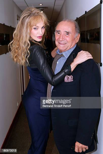 Actors from short program Y'a pas d'age on France 2 TV chanel Arielle Dombasle and Claude Brasseur attend 'Vivement Dimanche' French TV Show at...