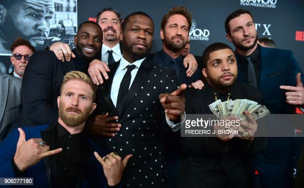Actors from the cast including O'Shea Jackson Jr Gerard Butler C/rear Pablo Schreiber Curtis '50 Cent' Jackson Mo McRae Kaiwi Lyman and Director...