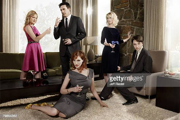 Actors from the cast of Mad Men pose at a portrait session Elizabeth Moss Jon Hamm January Jones Christina Hendricks and Vincent Kartheiser