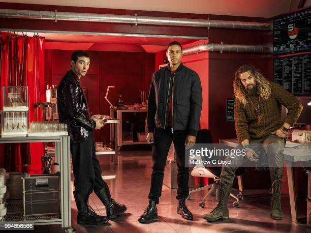 Actors from the film Justice League, Ezra Miller, Ray Fisher and Jason Momoa are photographed for the Los Angeles Times on November 4, 2015 in...