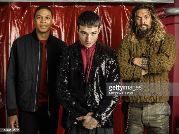 Actors from the film Justice League Ray Fisher Ezra Miller and Jason Momoa are photographed for the Los Angeles Times on November 4 2015 in London...