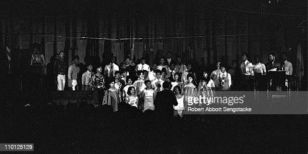 Actors from the musical 'Opportunity Please Knock' a show whose cast included members of the Almighty Blackstone Rangers gang and students from Hyde...