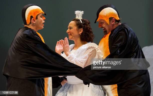 Actors from the SorbianNational Ensemble in Bautzen perform the piece 'Schneeflöckchen Vogelhochzeit' on the stage of the State Theater in Cottbus...