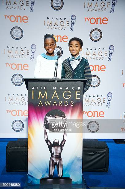 Actors from the Television Sitcom Blackish Marsai Martin and Miles Brown annouce the catagories for the 47th NAACP Image Awards Nominations Press...