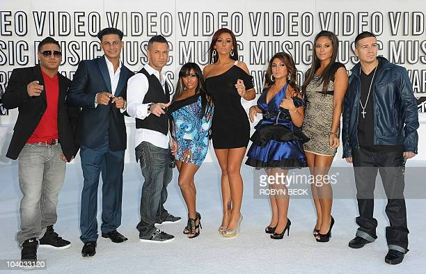 """Actors from the TV show """"Jersey Shore"""" arrive on the red carpet for the 2010 MTV Video Music Awards at the Nokia Theater in Los Angeles on Sepetember..."""
