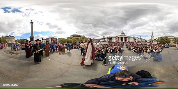 Actors from the Wintershall Players perform 'The Passion of Jesus' on Good Friday to crowds in Trafalgar Square on April 18 2014 in London England...