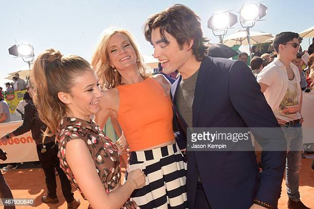 Actors G Hannelius Beth Littleford and Blake Michael attend Nickelodeon's 28th Annual Kids' Choice Awards held at The Forum on March 28 2015 in...