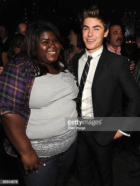 """Actors Gabby Sidibe and Zac Efron attend the after party for The Cinema Society with Screenvision & Brooks Brothers screening of """"Me And Orson..."""