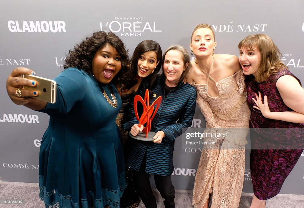 Actors Gabourey Sidibe and Freida Pinto, honoree Michele Dauber and actors Amber Heard and Lena Dunham attend Glamour Women Of The Year 2016 at NeueHouse Hollywood on November 14, 2016 in Los Angeles, California.