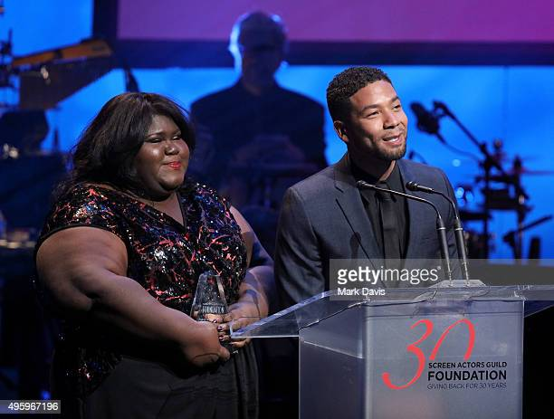 Actors Gabourey Sidibe and Jussie Smollett speak onstage during the Screen Actors Guild Foundation 30th Anniversary Celebration at Wallis Annenberg...