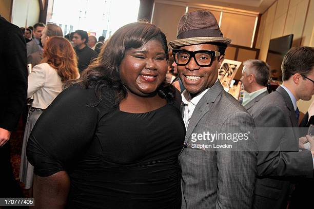 Actors Gabourey Sidibe Billy Porter attend The Trevor Project's 2013 TrevorLIVE Event Honoring Cindy Hensley McCain at Chelsea Piers on June 17 2013...