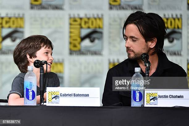 Actors Gabriel Bateman and Justin Chatwin attend CBS Television Studios Block including Scorpion American Gothic and MacGyver during ComicCon...