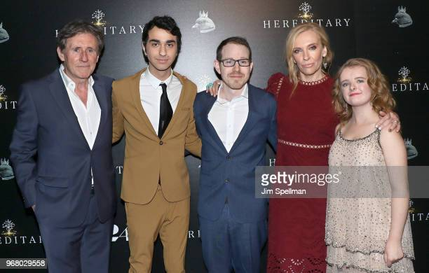 Actors Gabriel Byrne Alex Wolff director Ari Aster actresses Toni Collette and Milly Shapiro attend the screening of Hereditary hosted by A24 at...