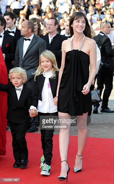 Actors Gabriel Gotting Morgana Davies and Charlotte Gainsbourg attend 'The Tree' Premiere held at the Palais des Festivals during the 63rd Annual...