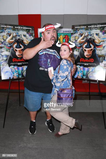"""Actors Gabriel Iglesias and Cristina Sanza attend the Best Buddies Hosts Private Screening And Cast Meet And Greet Of """"Ferdinand"""" at 20th Century Fox..."""