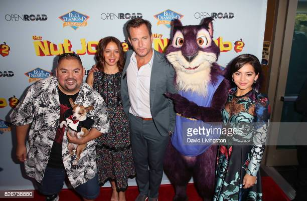 Actors Gabriel Iglesias Maya Rudolph Will Arnett and Isabela Moner attend the premiere of Open Road Films' 'The Nut Job 2 Nutty by Nature' at Regal...