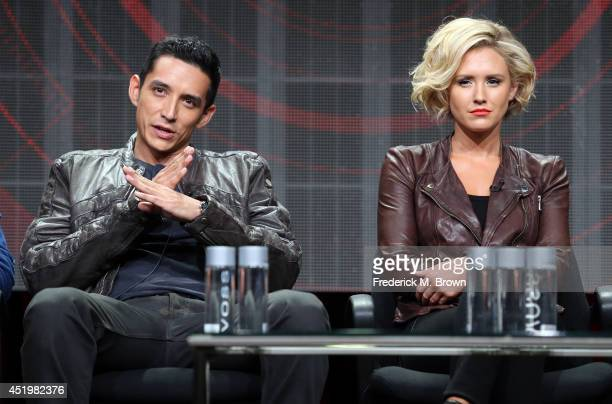 Actors Gabriel Luna and Nicky Whelan speak onstage at the 'Matador' panel during the El Rey Network portion of the 2014 Summer Television Critics...