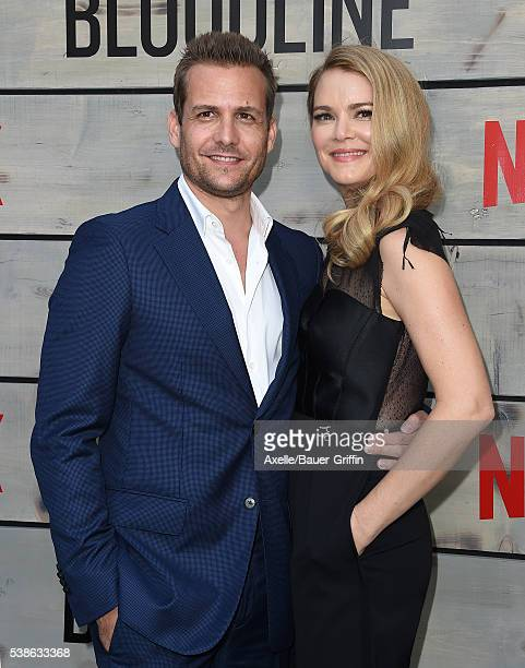 Actors Gabriel Macht and Jacinda Barrett arrive at the premiere of Netflix's 'Bloodline' at Landmark Regent on May 24 2016 in Los Angeles California