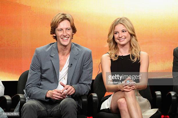 """Actors Gabriel Mann and Emily VanCamp of the television show """"Revenge"""" speak during the Disney ABC Television Group portion of the 2011 Summer..."""