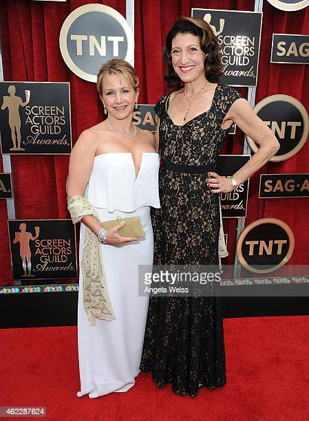 Actors Gabrielle Carteris and Amy Aquino attend the 21st Annual Screen Actors Guild Awards at The Shrine Auditorium on January 25 2015 in Los Angeles...