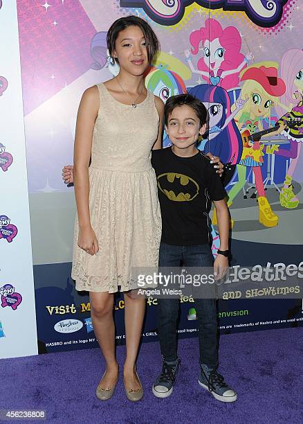 Actors Gabrielle Elyse and Aidan Gallagher attend the premiere of Hasbro Studios' 'My Little Pony Equestria Girls Rainbow Rocks' at TCL Chinese 6...