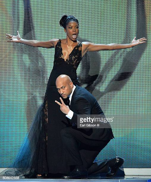 Actors Gabrielle Union and KeeganMichael Key onstage during the 47th NAACP Image Awards presented by TV One at Pasadena Civic Auditorium on February...