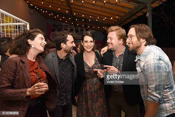Actors Gaby Hoffmann Jay Duplass Melanie Lynskey Linas Phillips and Timm Sharp attend a dinner hosted by Entertainment Weekly celebrating Mr Robot at...