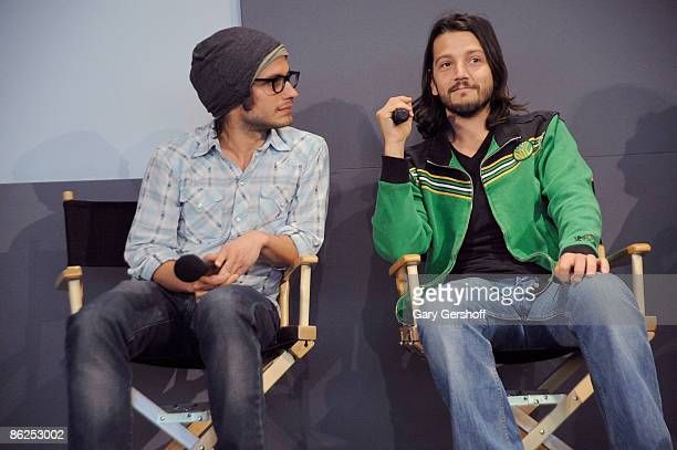 Actors Gael Garcia Bernal and Diego Luna attend 'The Apple Store Soho Presents Meet The FilmMaker Gael Garcia Bernal Diego Luna and Carlos Cuaron' at...