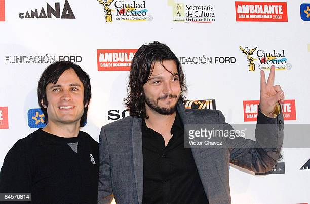 Actors Gael Garcia Bernal and Diego Luna attend the Gira Ambulante 2009 press conference at Cinepolis Diana on January 30 2009 in Mexico City
