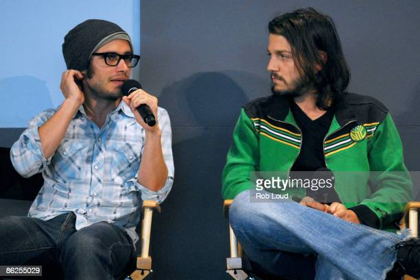 Actors Gael Garcia Bernal and Diego Luna visit the Apple Store Soho for the Meet the FilmMaker series on April 27 2009 in New York City