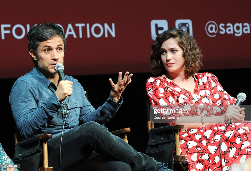 Actors Gael Garcia Bernal (L) and Lola Kirke attend SAG-AFTRA Foundation Conversations: 'Mozart In The Jungle' at The Robin Williams Center on February 12, 2018 in New York City.