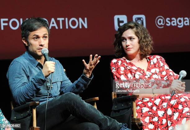 Actors Gael Garcia Bernal and Lola Kirke attend SAGAFTRA Foundation Conversations 'Mozart In The Jungle' at The Robin Williams Center on February 12...