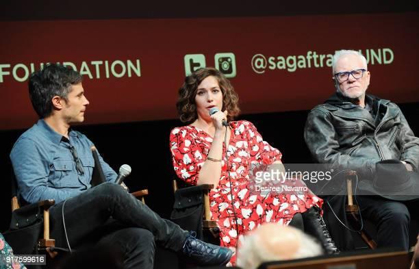 Actors Gael Garcia Bernal Lola Kirke and Malcom McDowell attend SAGAFTRA Foundation Conversations 'Mozart In The Jungle' at The Robin Williams Center...