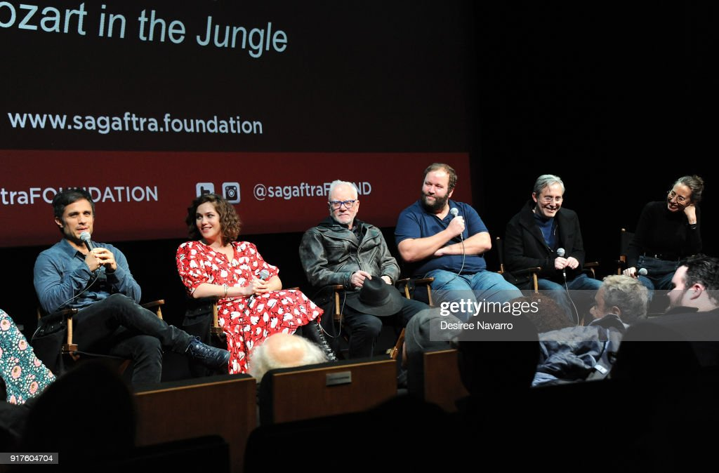Actors Gael Garcia Bernal, Lola Kirke, Malcom McDowell, showrunner Will Graham, director Paul Weitz and executive producer Caroline Baron attend SAG-AFTRA Foundation Conversations: 'Mozart In The Jungle' at The Robin Williams Center on February 12, 2018 in New York City.
