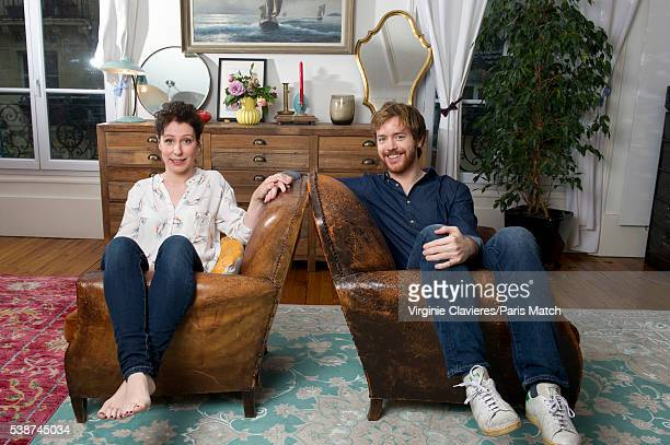 Actors Gael Giraudeau and Anne Auffret are photographed for Paris Match on May 23, 2016 in Paris, France.