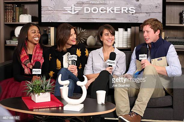 Actors Gail Bean and Cobie Smulders director Kris Swanberg and actor Anders Holm speak at The Variety Studio At Sundance Presented By Dockers on...