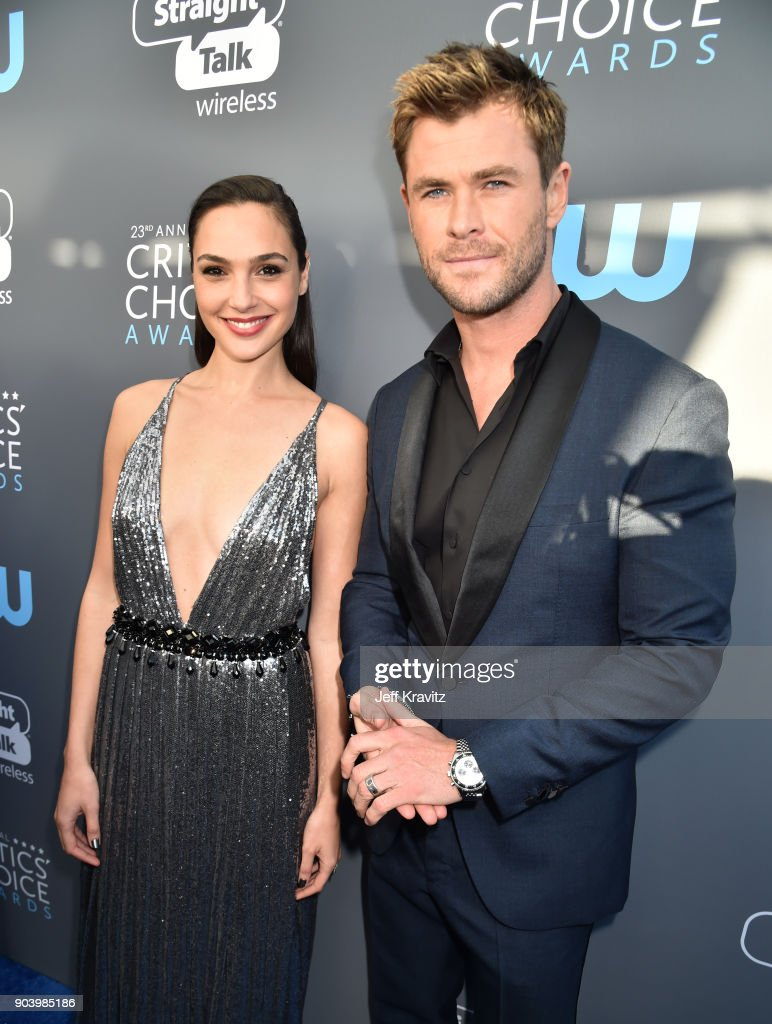 Actors Gal Gadot and Chris Hemsworth attend The 23rd Annual Critics' Choice Awards at Barker Hangar on January 11, 2018 in Santa Monica, California.